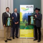 Two special, $10,000 awards were presented in honour of the national launch of ALUS Canada, A Weston Family Initiative. On right: Winner of the ALUS Canada Producer Innovation Award, Gerry Taillieu (ALUS Parkland, Tomahawk Ranch, Alberta). On left: winner of the Weston Family Ecosystem Innovation Award, Dr. Andrew MacDougall (University of Guelph, Ontario). In centre: ALUS Canada CEO Bryan Gilvesy.