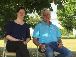 Lara Ellis, ALUS Canada's Director of Strategic Initiatives and Dave Reid, ALUS Canada's Eastern Hub Manager, found some shade at the Quebec launch.