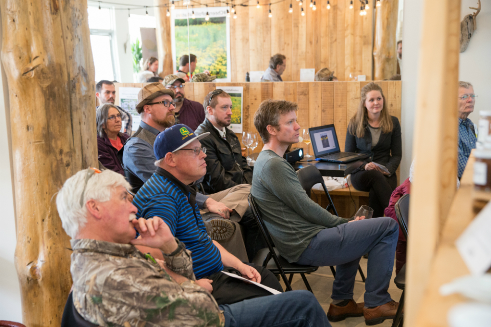 Three dozen guests attended the ALUS Elgin benefit at The New New Age store in April 2017, including many farmers participating in the ALUS Elgin program.